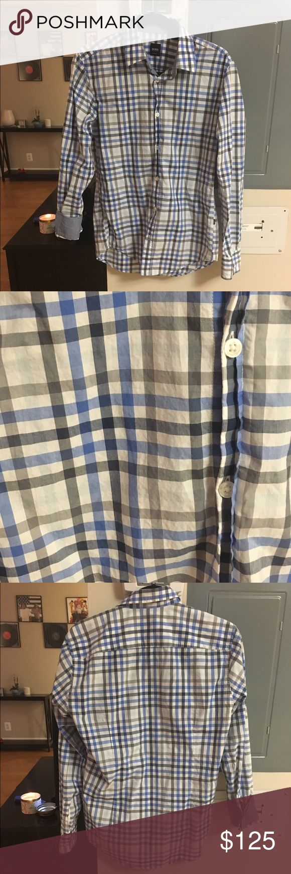 ✨FLASH SALE✨ Hugo Boss Men's Slim Fit Button Down Grey and Blue plaid button down shirt. Worn once! Hugo Boss Shirts Dress Shirts