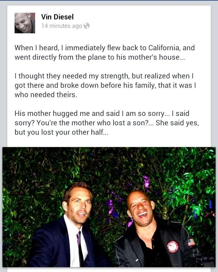 WOW. Vin Diesel pays emotional tribute to 'Brother' Paul Walker and it is moving stuff. Grab your tissues and hit the image to see the letter... #PaulWalker #VinDeisel #Brothers