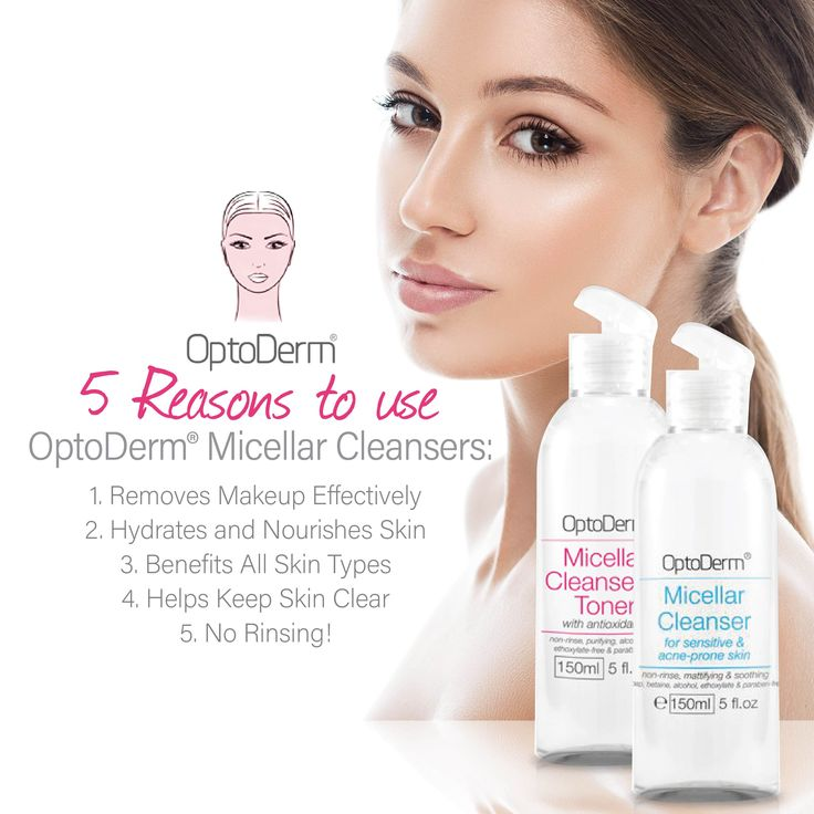 5 Reasons to use OptoDerm® Micellar Cleansers: 1. Removes Makeup Effectively 2. Hydrates and Nourishes Skin 3. Benefits All Skin Types 4. Helps Keep Skin Clear 5. No Rinsing! #Optoderm