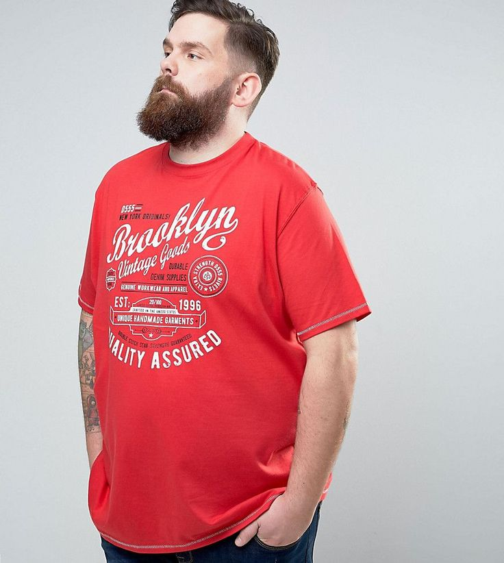 Duke PLUS T-Shirt With Brooklyn Print In Red - Red