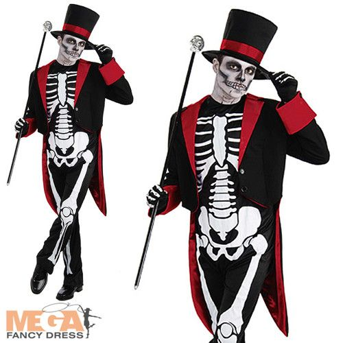 Mr Bone Jangles Mens Skeleton Halloween Fancy Dress James Bond Vodoo Costume | eBay