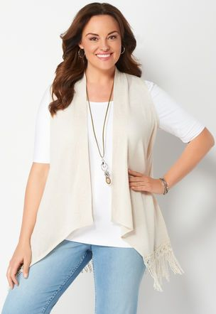 Crochet Fringe Hem Plus Size Sweater Vest