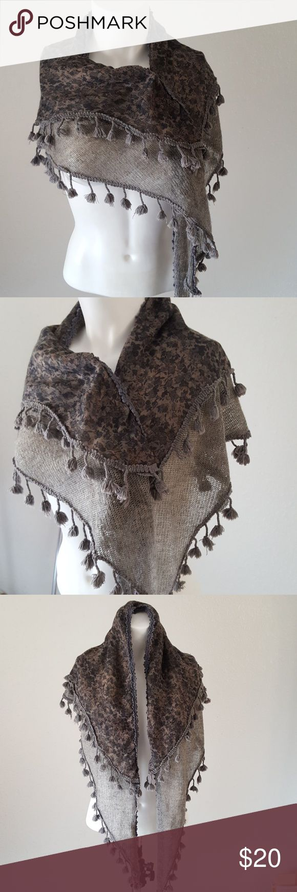 Triangle Scarf Wrap Layered BoHo Tassled frm Egypt Adorable triangle scarf from Egypt. Two sides of pattern one plaid the other fliral. Larger part of scarf is gray. Few pom pom tassels missing. A real stylish BoHo feel to it. Accessories Scarves & Wraps