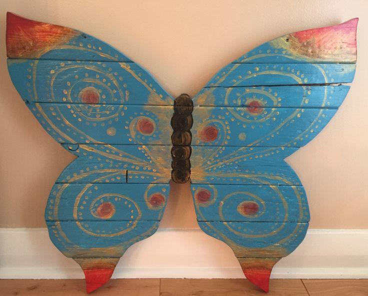 Reclaimed wood butterfly, wall art, outdoor art,