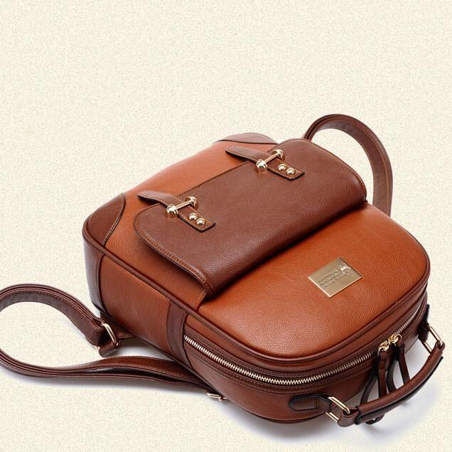 British Preppy Retro Brown Leather School Backpacks - lilyby #FashionBackpacks
