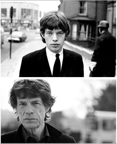 Mick Jagger ! I love these side by side photos that show how people age