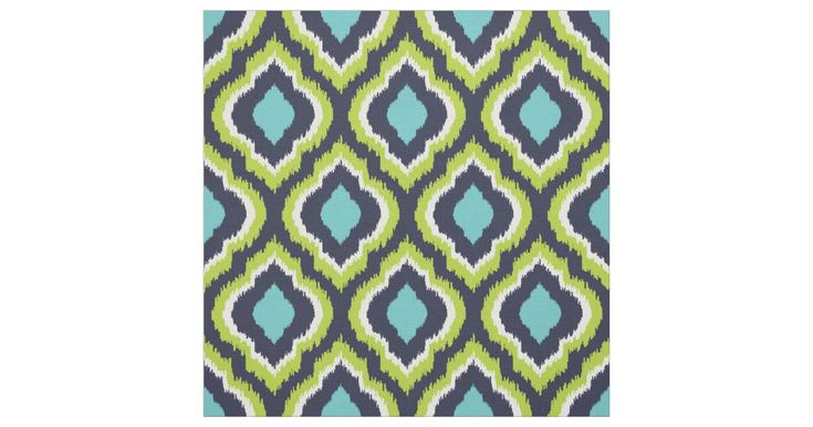 Navy Turquoise and Green Ikat Moroccan Fabric | Zazzle.com