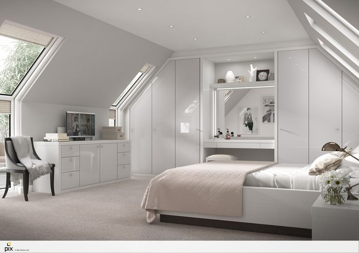 Sophisticated feminine bedroom set within a apex attic space with large velux windows. The sleek white gloss slab door is a design classic fitting with the fashionable styling. The gloss bedroom furniture is softened with layers of soft white bedding with, fresh flowers and an iconic style. Photorealistic bedroom by http://pix.setvisions.co.uk/Portfolio#!roomset