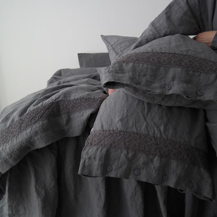 BIANCHERIA Copripiumino Copripiumino e federe con pizzo. Lino francese grigio set di lenzuola. Realizzato da MOOshop.*19 di mooshop su Etsy https://www.etsy.com/it/listing/243922885/biancheria-copripiumino-copripiumino-e