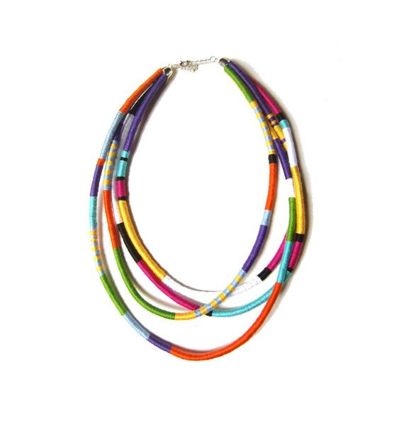 African Necklace, Tribal Necklace, Thread Wrap Necklace, Multistrand Statement Necklace UK on Etsy, $58.43
