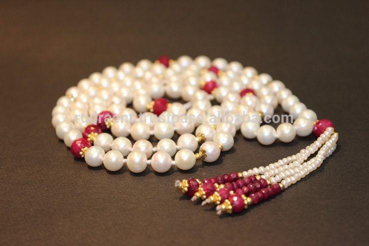Pearl Mala, Ruby Rondelle Long Gemstone Necklace, 108 Beads Japa Mala, Pearl Tassel Mala