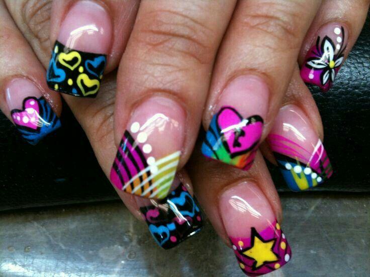 80s neon nail art