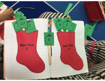 Many students struggle with greater than less than when numbers are represented in various forms. This pack includes pictorial representation, word form, and standard form. The packet goes up to the number 10. The stocking is to be printed on colored paper glued into an interactive journal/notebook as an envelope in which you place the ornaments.