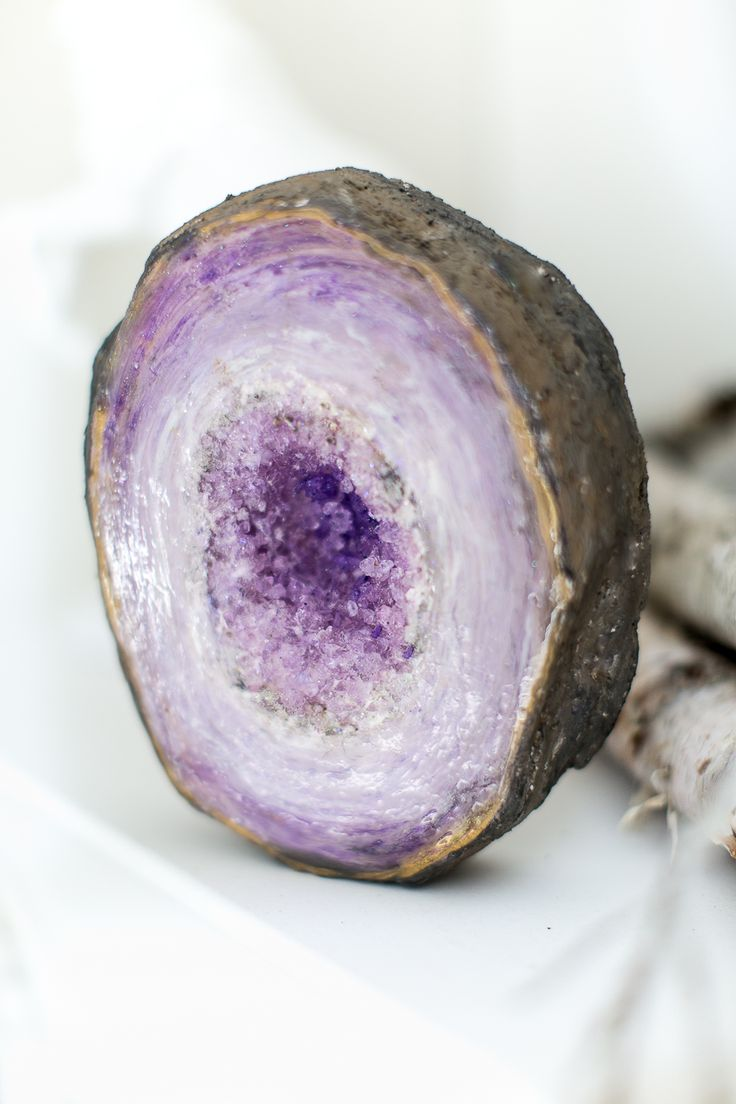Make an Amethyst Geode rock (or Agate rock…or Crystal Quartz rock) using foam, Mod Podge, acrylic paint, and Dimensional Magic!