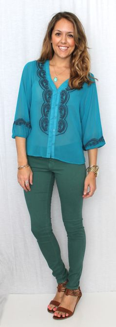 Js Everyday Fashion wearing our Blue Ribbon Blouse and Forest Green Skinnies