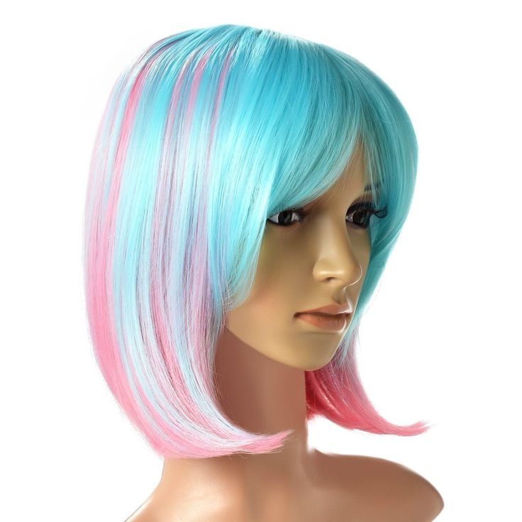 AGPtEK – #Parrucca sintetica ondulata per feste, rosa azzurra #wig #cosplay #lolita