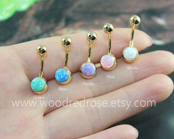 A SET OF Five Colors Fire Opal Belly Button Ring ,Opal Navel Piercing,white opal, purple opal,green opal,pink opal,blue opal button ring