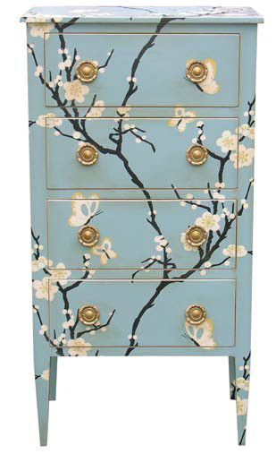 Such a pretty upcycled cabinet in Duck Egg Blue with sprays of Chinese blossom in Soft White.