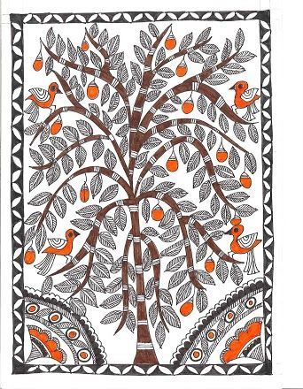 Madhubani Painting: Madhubani painting or Mithila painting is a style of Indian painting, practiced in the Mithila region of Bihar state, India, and the adjoining parts of Terai in Nepal. Painting is done with fingers, twigs, brushes, nib-pens, and matchsticks, using natural dyes and pigments, and is characterized by eye-catching geometrical patterns - Wiki