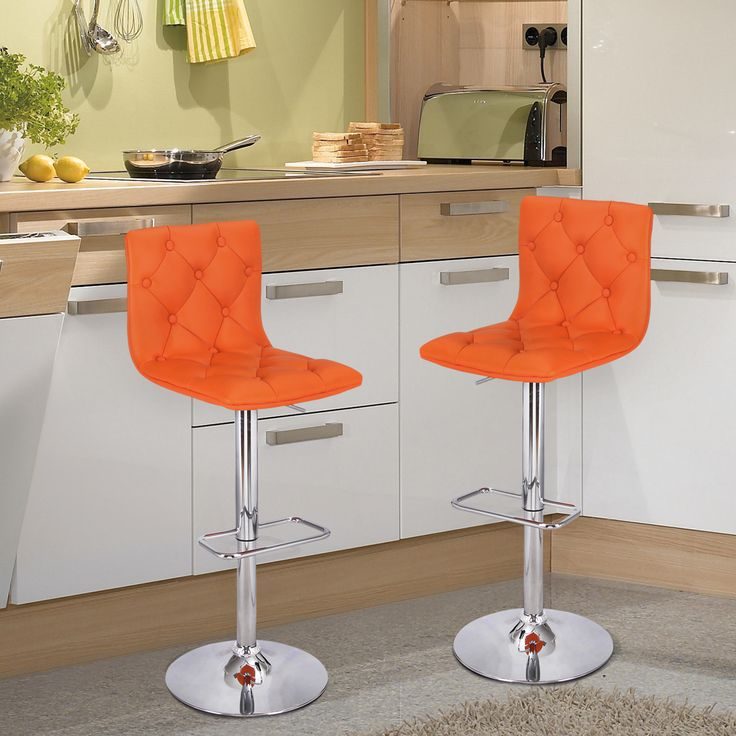 Orange Button Tufted Faux Leather Swivel Adjustable Bar Stools (Set of 2)      This chair is designed with comfort and style in mind. Rich leatherette and polished chrome base make this chair contemporary and elegant. Its padded back and cushioned seat add seating comfort. Button padded back adds...