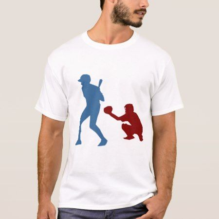 Hitter and Catcher Playing Baseball T-Shirt - click/tap to personalize and buy