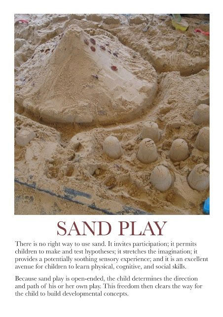 Sand Play Poster. For more Play pins visit: http://pinterest.com/kinderooacademy/learning-through-play/ ≈ ≈