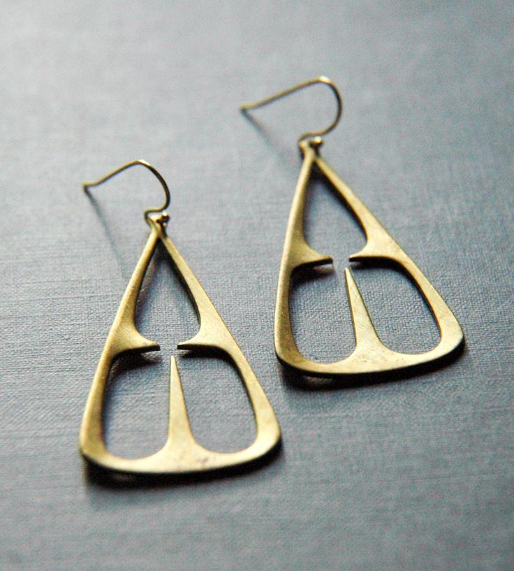 Brass Tribal Triangle Earrings