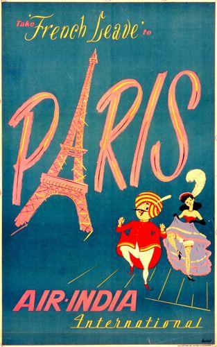 Vintage #Air-India International Poster for #Paris