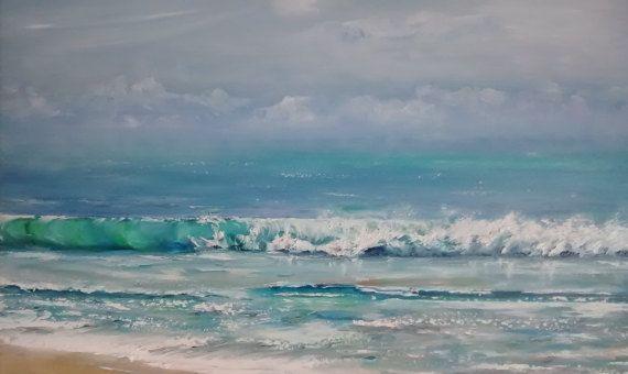 Pintura al óleo de la orilla del mar en un día de viento. Pintura original sobre tela. Paisaje marino.Olas en el mar.Playa del mediterráneo