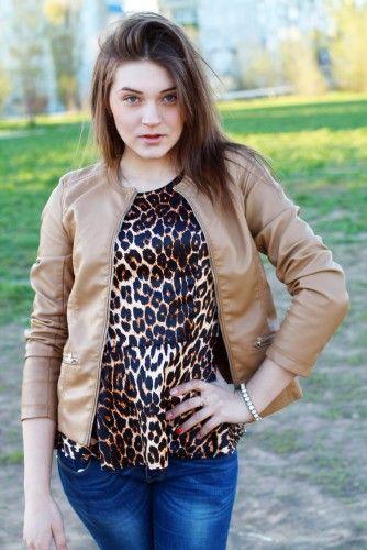 Баска леопар  Куртка беж