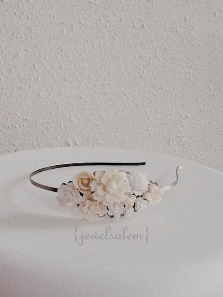 Wedding Headband Elegant Chintz Eggshell Beige Romantic Bridal Headband Ivory Wedding Hairband White Cream Flower Headpiece for Bride Boho Shabby Chic - Jewelsalem