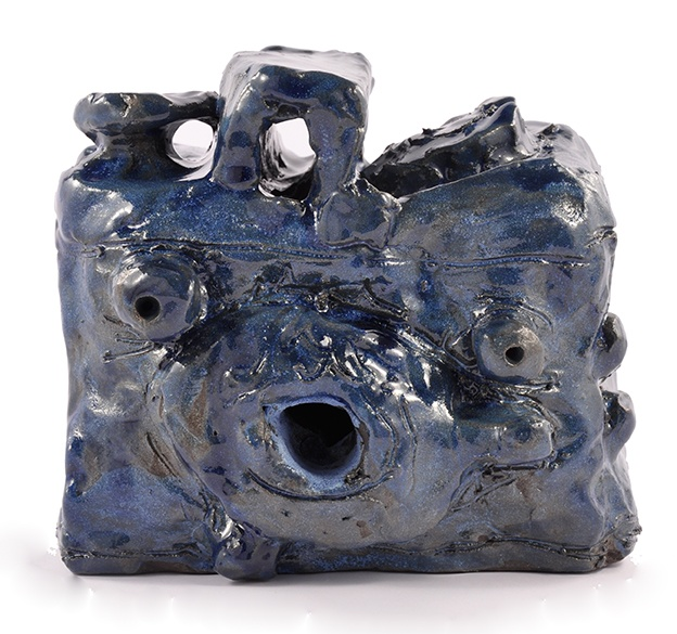 Alan Constable, Not titled (blue medium format) 2011 ceramic 15 x 16.5 x 15cm © Artist Represented by Arts Project Australia
