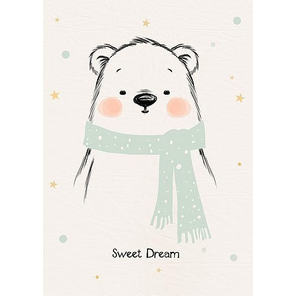 affiche, illustration, ours, pastel, bear, pitimana