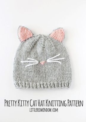 Modello Cappello gatto, gattino gatto cappello, bambino gatto cappello, cappello bambino kitty, reticolo di lavoro a maglia del gatto, gatto cappello foto prop-  Questa versione PDF stampabile di una pagina senza pubblicità del mio modello di maglia Pretty Kitty gatto cappello bambino molto popolare (modello è gratis qui trovata solo taglia 6 mesi: http://littleredwindow.com/2016/05/pretty-kitty-cat-hat-knitting-pattern.html) PDF questo pattern è un download immediato. Il modello di maglia…
