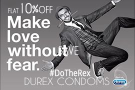 Flat 10% OFF on Durex Condoms. Make love without fear.