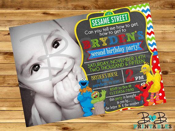 Sesame Street Invitation. Sesame Street Birthday Invitation. Sesame Street Photo…