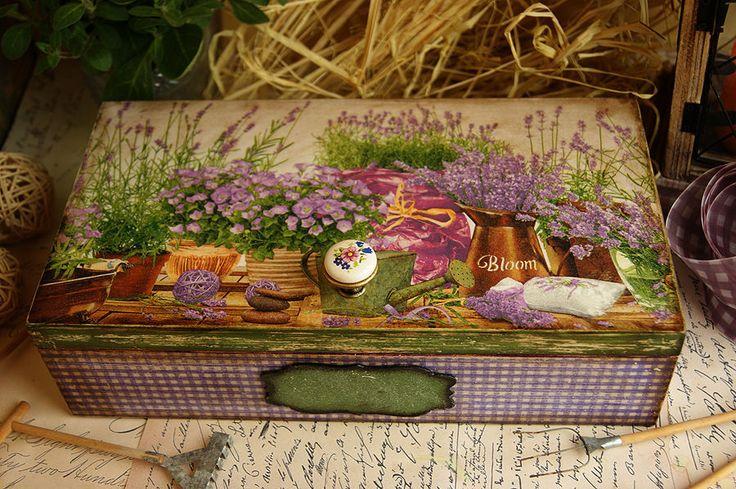 Купить Цветы Прованса. Короб - Декупаж, прованс, шкатулка, лаванда, винтаж, коробка, хранение