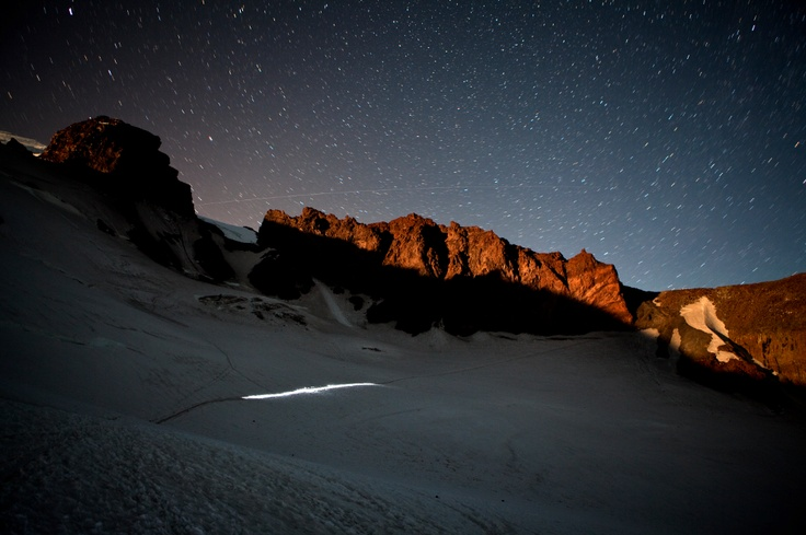 Mount Rainier National Park, Washington: Teams of mountaineers with their headlamps creating