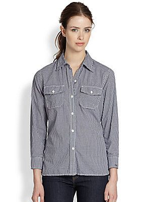 Current/Elliott The Perfect Cotton Gingham Shirt