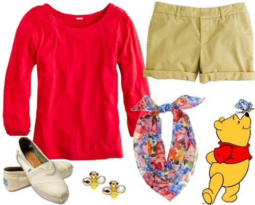 """Winnie the Pooh Outfit """"Pooh is always wearing his signature red shirt. Channel his look in this 3/4 sleeve top paired with soft, gold-colored shorts. TOMS keep the look simple, but the floral scarf dresses it up while winking at Pooh's playful side. To finish the outfit, add a pair of bee-shaped studs as a nod to the makers of Pooh's favorite treat."""""""