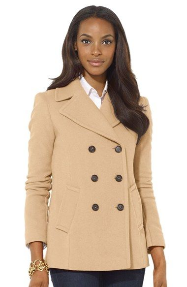 Lauren+Ralph+Lauren+Double+Breasted+Wool+Blend+Peacoat+available+at+#Nordstrom