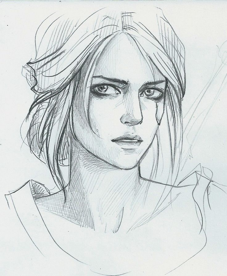 ведьмак3, цири, девушка, caricature, sketch, illustration, game, witcher3, карандаш, творчество