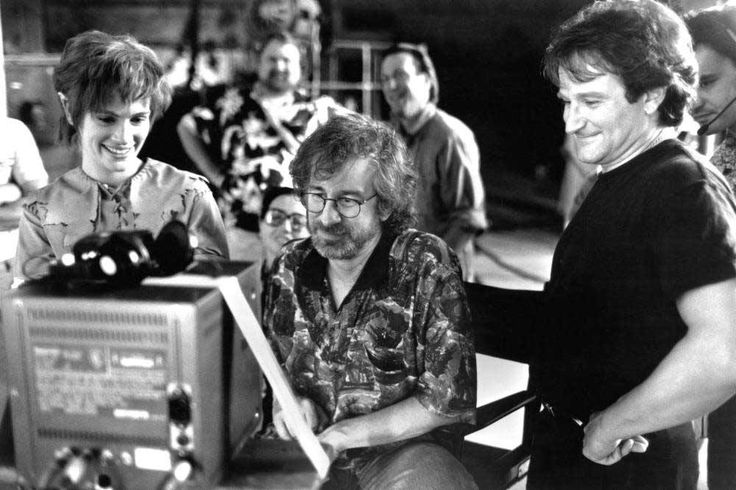 Julia Roberts, Steven Spielberg, and Robin Williams on the set of 'Hook,' 1991.