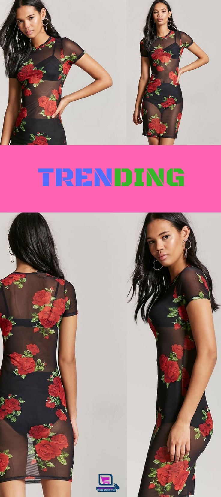 A sheer mesh knit dress featuring an allover floral print, round neckline, cap sleeves and a bodycon fit. (Layering garments not included.) Content + Care - 94% polyester, 6% spandex - Hand wash cold - Made in Philippines #trending #dress #dresses #fashion #style #shopping #clothing #WomenClothing