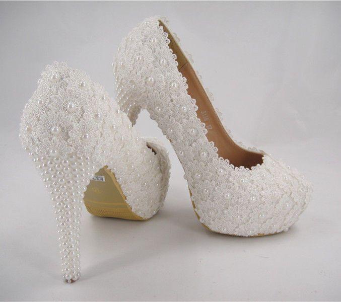 Feito À Mão Marfim Com Miçangas sapatos de noiva de renda Pérola salto alto sapatos casamento UK3-8
