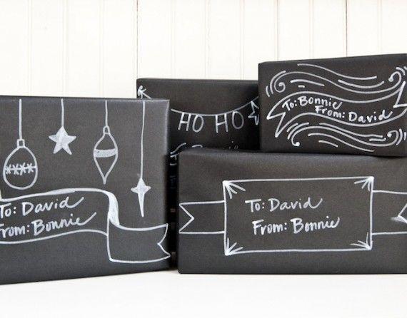 Lille Lykke: Chalkboard inpakpapier, wat een top idee!