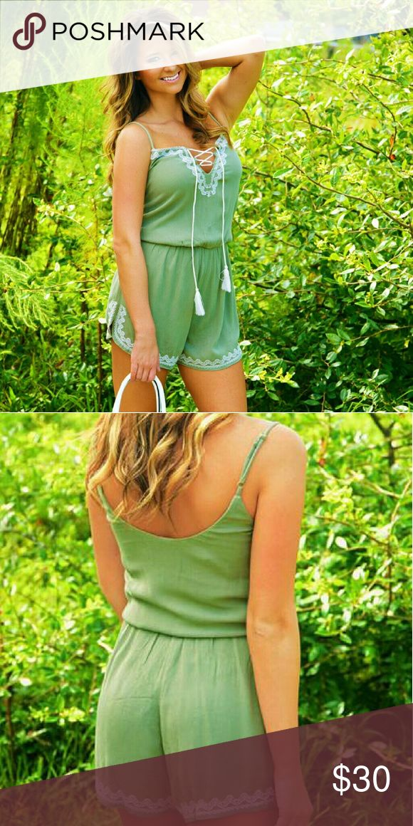 Shop Hopes Green Cream Romper Brand new with tags green romper with white/cream detailing.  Adjustable straps. Tie front.  Size large. Other