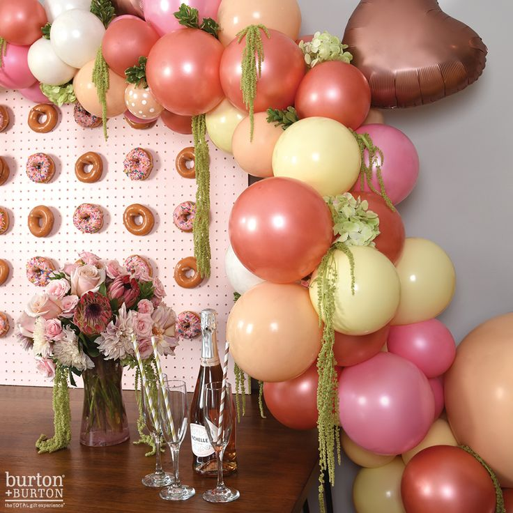 All of the  for rose gold! Our brand new rose gold latex perfectly compliments our new Satin Luxe foils in rose copper! This modern palette sets the stage for the perfect bridal shower! Products 106HT18, Q25107, 9732284 #balloons #rosegold #rosegoldwedding #weddingballoons #donutwall #donuts #protea #valentines #organicarch #balloon #floraldesign #wedding