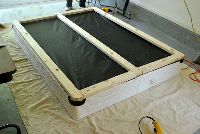 "Support your box springs with 2' x 4"" frame, add legs, upholster the box springs and your bed is ready to go."