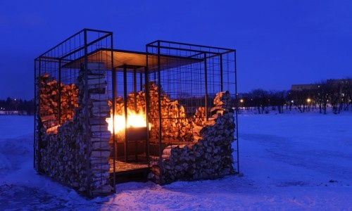 Woodpile warming hut on The River Trail at The Forks in Winnipeg, Manitoba.